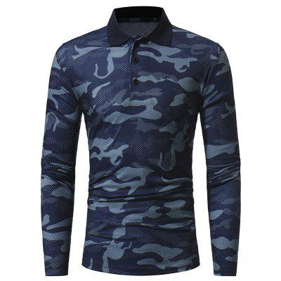 2017 Autumn and Winter New Classic Camouflage Men'S Casual Lapel Long-Sleeved T-Shirt