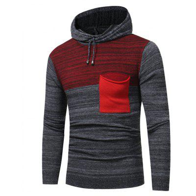 2017 New Men'S Fashion Spell Color Hooded Casual Long-Sleeved Sweater Male Slim Thick Sweater