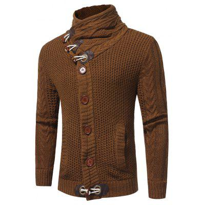 New Men'S Fashion Horn Button Coarse Wool Twisting Collar Long-Sleeved Thickened Cardigan Sweater