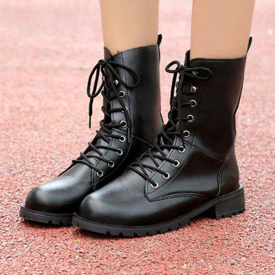 Thick With Round Head Size Couple Martin BootsWomens Boots<br>Thick With Round Head Size Couple Martin Boots<br><br>Boot Height: Knee-High<br>Boot Type: Riding/Equestrian<br>Closure Type: Lace-Up<br>Gender: Unisex<br>Heel Type: Flat Heel<br>Package Contents: 1 x Shoes ( pair )<br>Pattern Type: Solid<br>Season: Spring/Fall, Winter<br>Toe Shape: Round Toe<br>Upper Material: PU<br>Weight: 0.5376kg