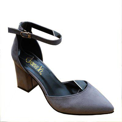 Spring and Summer New Rough Heel Suede Shoes