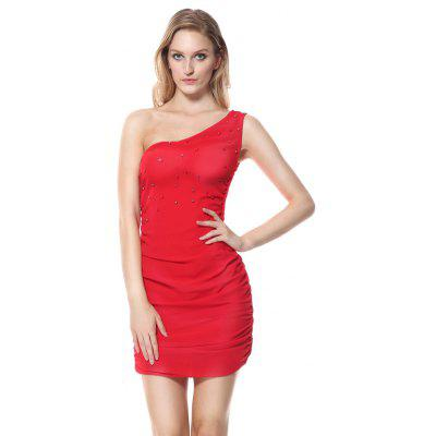 sexy womens red one shoulder party mini bodycon valentine dress
