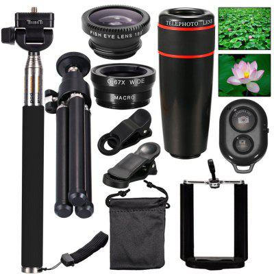 10-in-1 Camera Lens Kit 8x Telephoto Telescope Lens + Fish Eye Lens + Wide Angle + Macro Lens universal 2 in 1 0 65x wide angle macro lens glass filter for cellphone tablet pc black