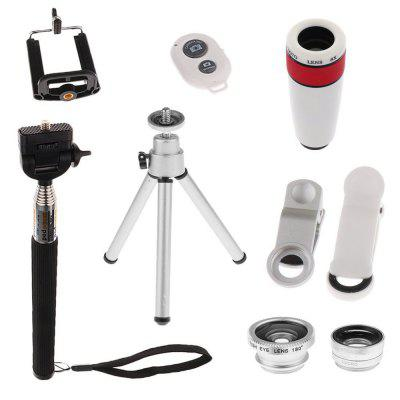 10-in-1 Camera Lens Kit 8x Telephoto Telescope Lens + Fish Eye Lens + Wide Angle + Macro Lens + Selfie Stick Monopod universal 2 in 1 0 65x wide angle macro lens glass filter for cellphone tablet pc black