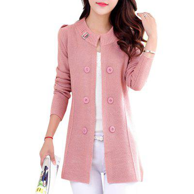 Slim Long Sleeve Double-breasted Knit Open Front Cardigan