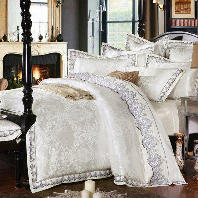 Cotton White Quilt Cover Satin Jacquard Four-Piece Set to Enlarge the Bedclothes