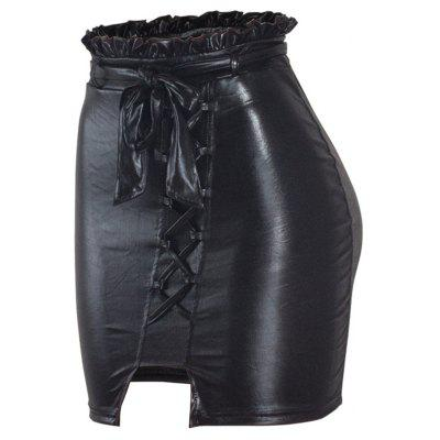 Hot Style PU Female Leather Skirt Water Wash Leather Side Skirt