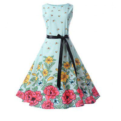 Retro Collection Waist Shows Thin Big Print Dress