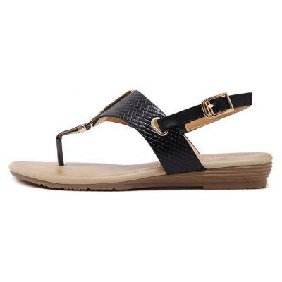 Ladies Rubber Sole Metal Clasp Flip Toe SandalsWomens Sandals<br>Ladies Rubber Sole Metal Clasp Flip Toe Sandals<br><br>Available Size: 35 36 37 38 39 40 41<br>Closure Type: Slip-On<br>Gender: For Women<br>Heel Type: Flat Heel<br>Occasion: Casual<br>Package Content: 1xShoes?pair?<br>Pattern Type: Others<br>Sandals Style: Flip Flops<br>Style: Concise<br>Upper Material: PU<br>Weight: 1.1020kg