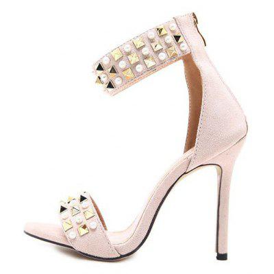 WomenS Rubber Sole Is Decorated in Luxury Rivets with High Heels and SandalsWomens Pumps<br>WomenS Rubber Sole Is Decorated in Luxury Rivets with High Heels and Sandals<br><br>Available Size: 35 36 37 38 39 40<br>Heel Type: Stiletto Heel<br>Occasion: Party<br>Package Contents: 1xShoes?pair)<br>Pumps Type: Basic<br>Season: Winter, Spring/Fall, Summer<br>Toe Shape: Round Toe<br>Toe Style: Open Toe<br>Upper Material: PU<br>Weight: 1.1020kg