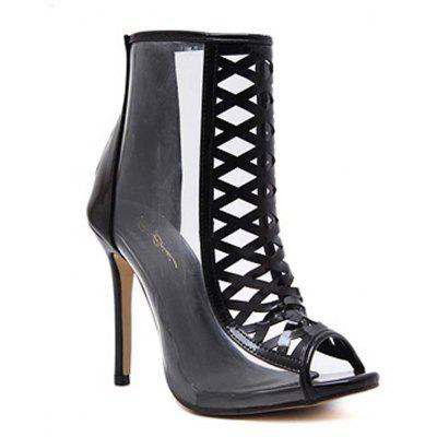 Ladies Rubber Sole Fish Mouth Transparent Hollow Heels