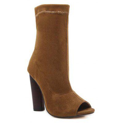 Ladies Rubber Sole Hollow Fishmouth Boots and High Heels