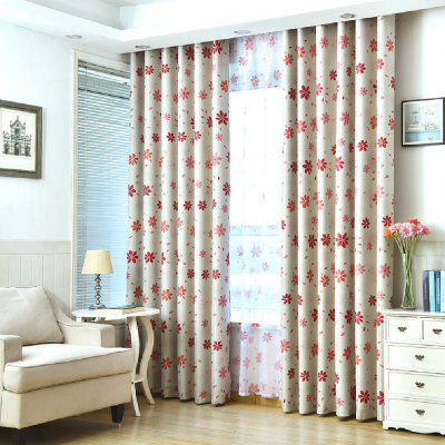 Shade Cloth Curtains With Multicolored Flowers