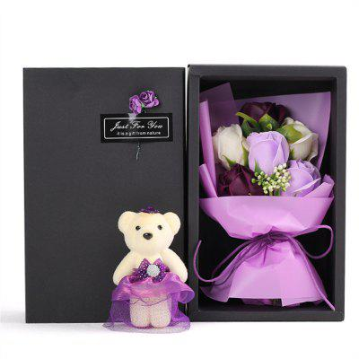 6Pcs Box Romantic Rose Soap Flower With Little Cute Bear Doll Great for Valentine's Day Wedding birthday Gifts
