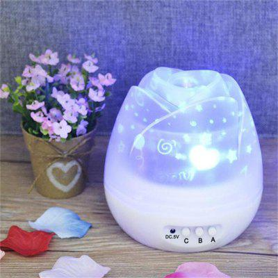 Buy WHITE Rose Flower Star Moon Sky Dream Rotating Projector Lamp Night Light for $15.50 in GearBest store