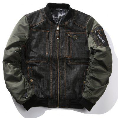 Denim Stitching Baseball Costume Spring and Autumn Outfit Tide Jacket