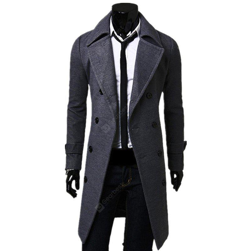 Business Casual Trench Coat Washed Cotton Turndown Collar Jacket for Men