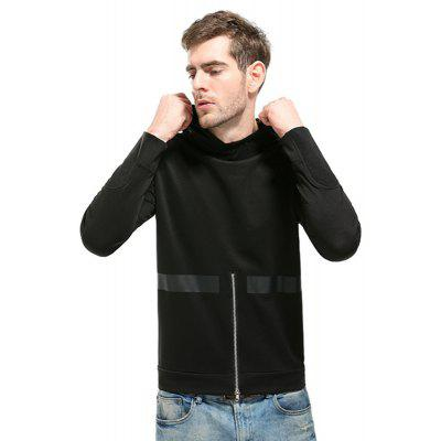 Mens Hoodies Brief Style Solid Color Casual Sport Hooded Tops with Zipper Decoration pure color automatic buckle pu mens belt