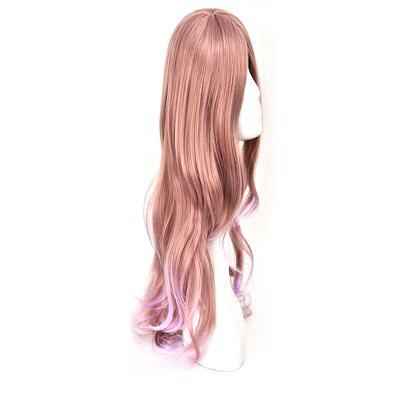 Long Curly Cosplay Wig brown Gradient purple Wavy With Bangs Hairstyle wigs for women High Temperature Fiber fake hair