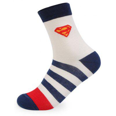 Buy COLORMIX Superhuman Stripe Graphic Elastic Knit Socks 5 Pairs for $20.36 in GearBest store