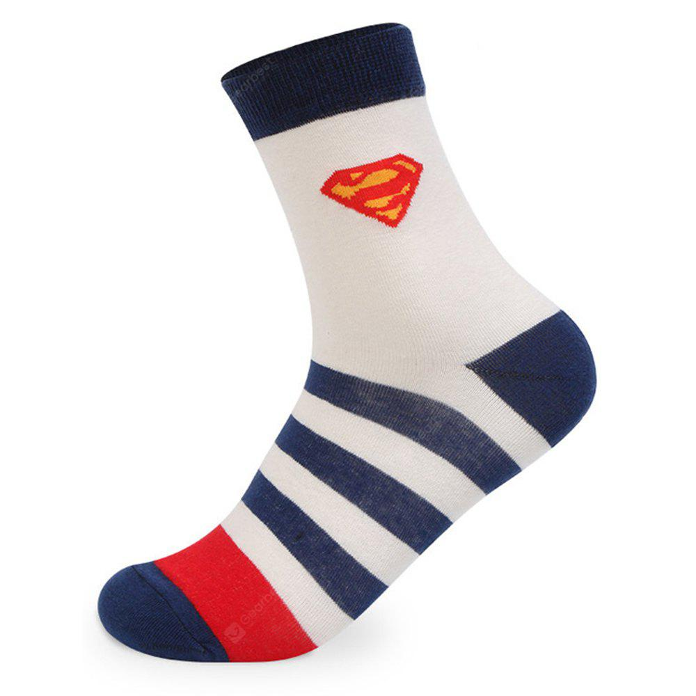 COLORMIX Superhuman Stripe Graphic Elastic Knit Socks 5 Pairs