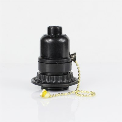 E26 Black Plastic Half Tooth Screw Mouth With Outer Ring Zipper Switch Lamp Holder