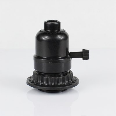 E26 Black Plastic Half Tooth Screw Mouth With Outer Ring Knob Switch Lamp Holder
