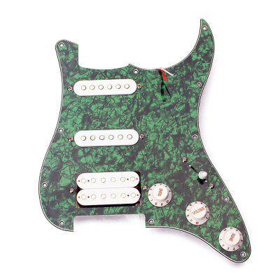 Holes SSH Loaded Prewired Electric Guitar Pickguard 2 Single Coil /Humbucker Pickups Set for ST,Green Pearl