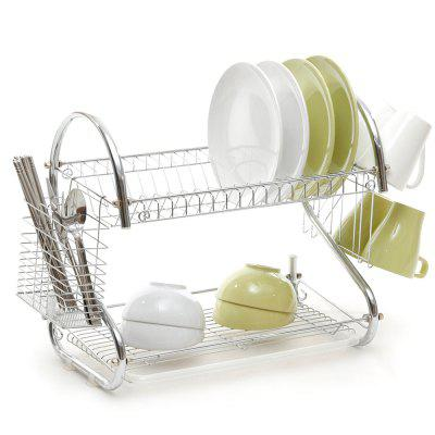 ORZ Stainless Steel Dish Rack 2-Tier Dish Drainer Drying Shelf Kitchen Cup Plate Storage Holder