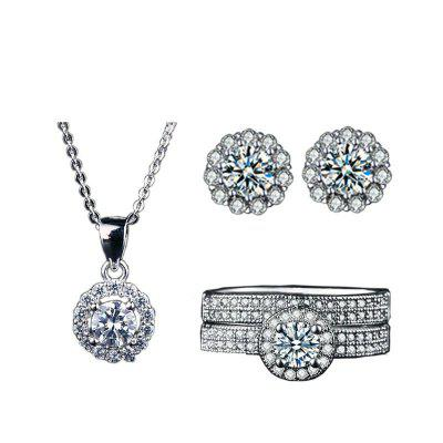 Luxury White Gold Plated Jewelry Sets earrings crystal diamonds Big Engagement rings and necklace for Women wedding jewelry