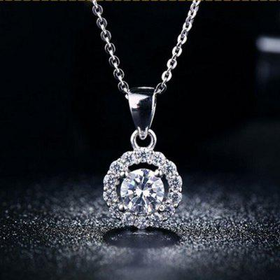 MDEAN White Gold Plated Crystal Gemstone AAA Zircon Wedding Necklace for Women MSN001