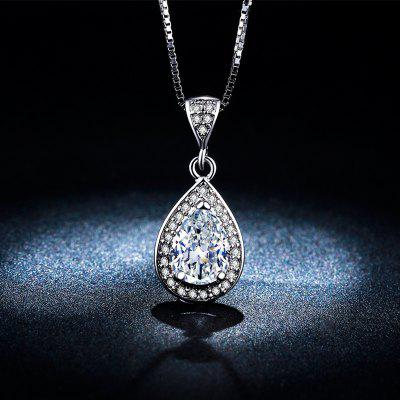 Water Drop shaped crystal diamond White GoldNecklace for Women Luxury Pendant MSN003