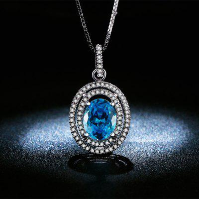 Fashion White Gold Plated Sapphire Diamond Necklace for Women MSN008
