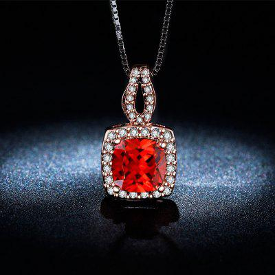 Luxury Pendant Roes Gold Red AAA Zircon Necklace for Women Wedding MSN009