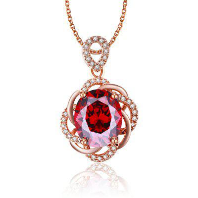 MDEAN Luxury Rose Gold Plated Necklace Vintage Red Ruby CZ Diamond Pendants for Women MSN010