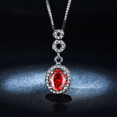 MDEAN White Gold Plated Necklace Red Gem AAA Zircon Vintage Wedding Pendant for Women MSN011