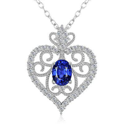MDEAN White Gold Plated Blue Sapphire Diamond Necklaces for Women Wedding MSN021