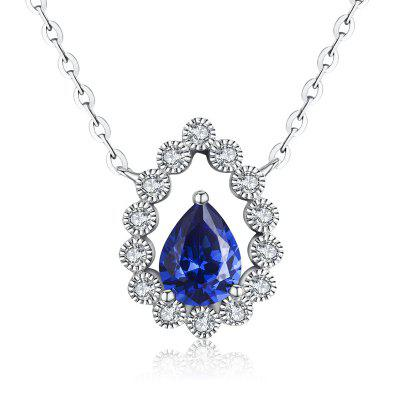 White Gold Plated Sapphire CZ Diamond Necklaces for Women MSN023