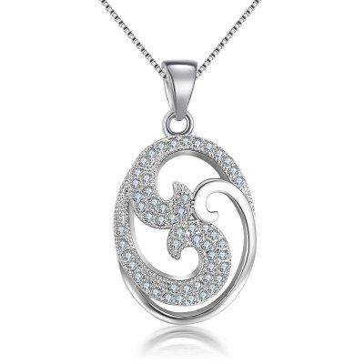 White Gold Plated Pendants Crystal CZ Diamond Wedding Necklace for Women MSN024