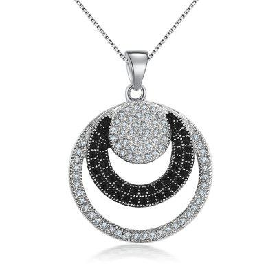 White Gold Plated Double Round Pendants Wedding Necklace for Women MSN027