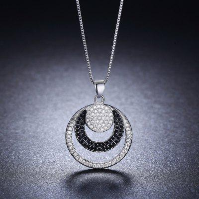 White Gold Plated Double Round Pendants Wedding Necklace for Women MSN027Necklaces &amp; Pendants<br>White Gold Plated Double Round Pendants Wedding Necklace for Women MSN027<br>