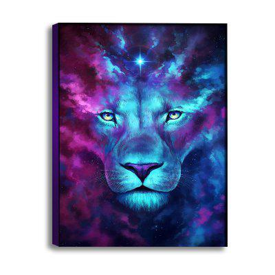 Abstract Blue and Purple Lion Without Frame Oil Painting