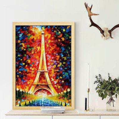 Colorful Eiffel Tower Unframed Oil Painting