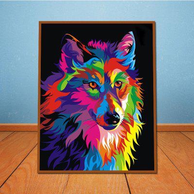 Colorful Animal Wolf Without Frame Oil Painting