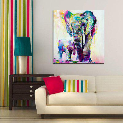 Colorful and Warm Elephant Without Frame Oil Painting