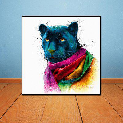 Colorful Black Panther Head Without Frame Oil Painting