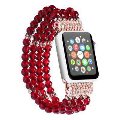 Handmade Elastic Faux Pearl Beaded Watch Band for Apple Watch 38mm Series 3 / 2 / 1