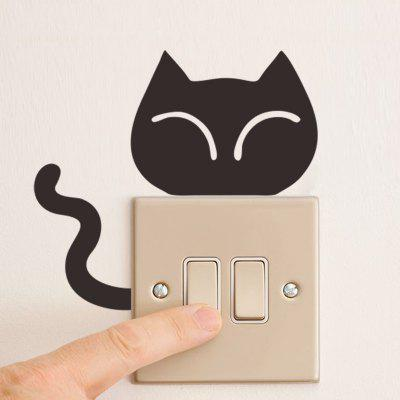 Cute Cat Switch Sticker Cat Head And Tails Switch Decals For Kids Room