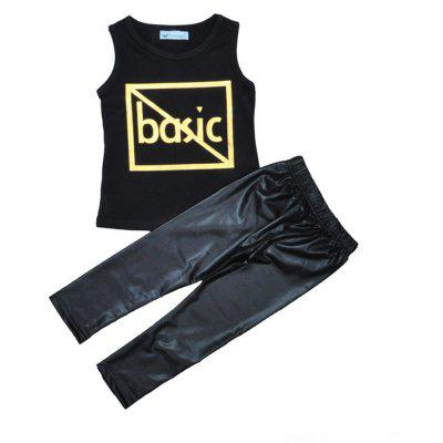 SOSOCOER Kids Boys Clothes Set Sleeveless T - Shirt and Black Pants Two Piece