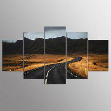 YSDAFEN 5 Panel Modern Roads in Iceland Canvas Art for Living Room Wall Picture